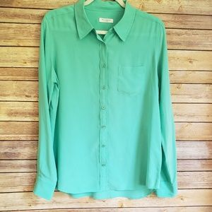 Equipment 100% Silk Classic Shirt L Sea Green EUC